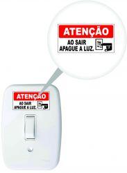 ADESIVO  APAGUE A LUZ DE 3 X 6 CM - EMBALAGEM COM 05 UNDS